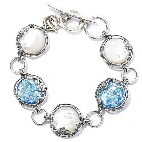 131-889 - Passage to Israel Sterling Silver 8'' Mother-of-Pearl & Roman Glass Toggle Bracelet