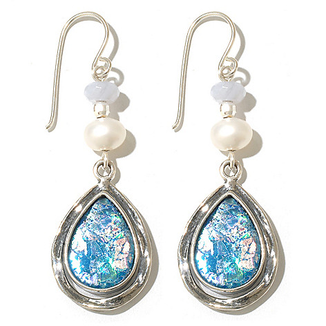 131-890 - Passage to Israel Sterling Silver 2'' Roman Glass, Blue Agate & Freshwater Cultured Pearl Earrings