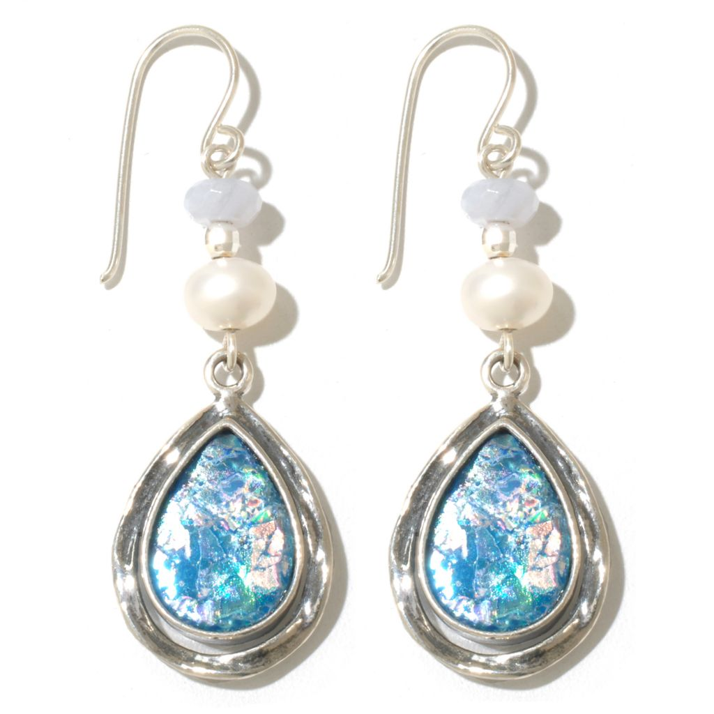 "131-890 - Passage to Israel Sterling Silver 2"" Roman Glass, Blue Agate & Freshwater Cultured Pearl Earrings"