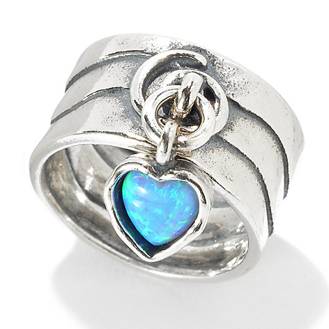 131-891 - Passage to Israel Sterling Silver Simulated Blue Opal Heart Charm Wide Band Ring