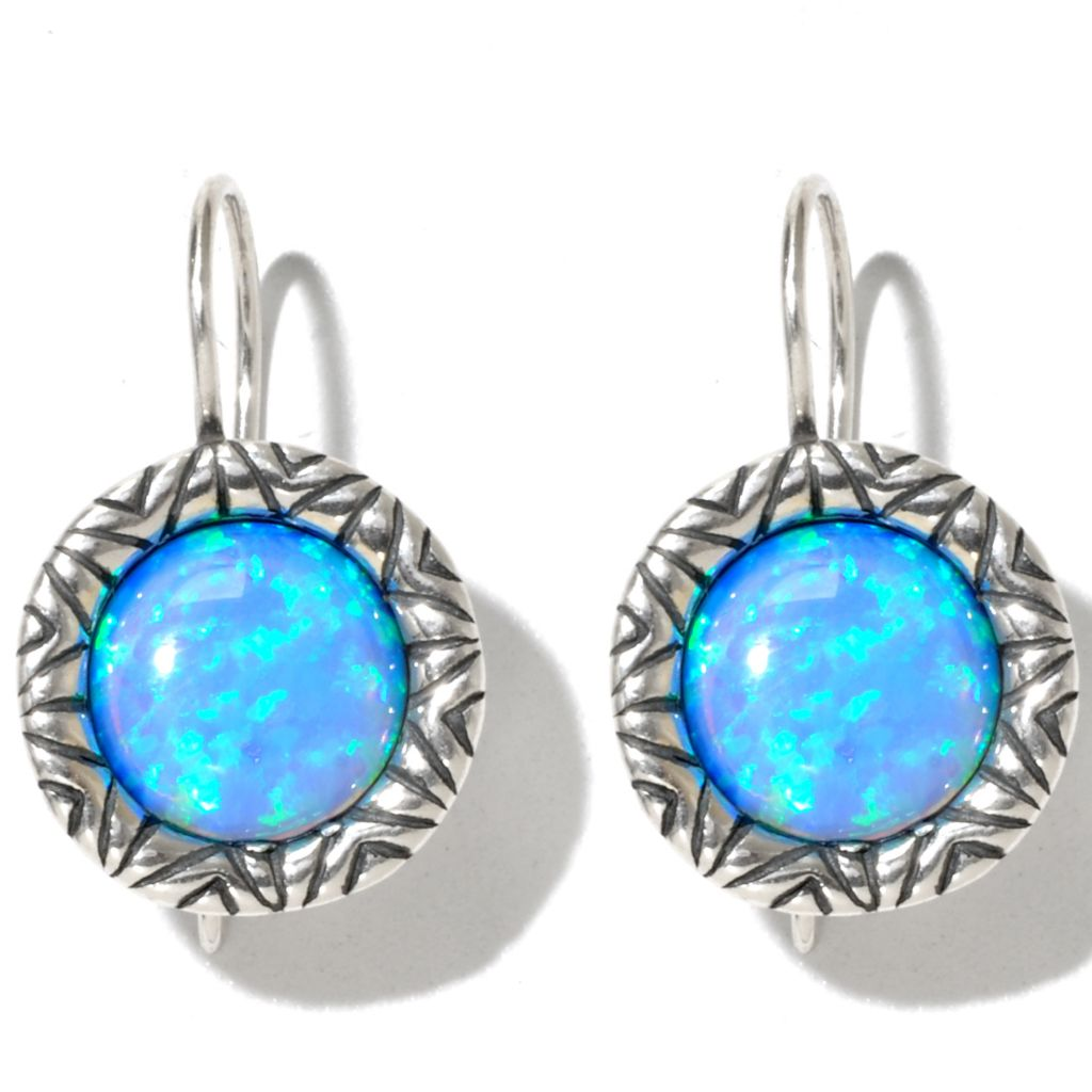 131-892 - Passage to Israel Sterling Silver 10mm Simulated Blue Opal Textured Drop Earrings