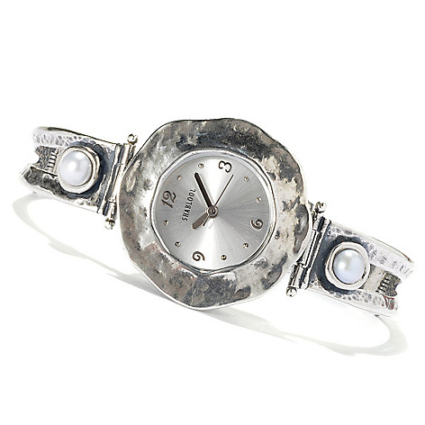 131-893 - Passage to Israel™ Sterling Silver 7'' Freshwater Cultured Pearl Bracelet Watch