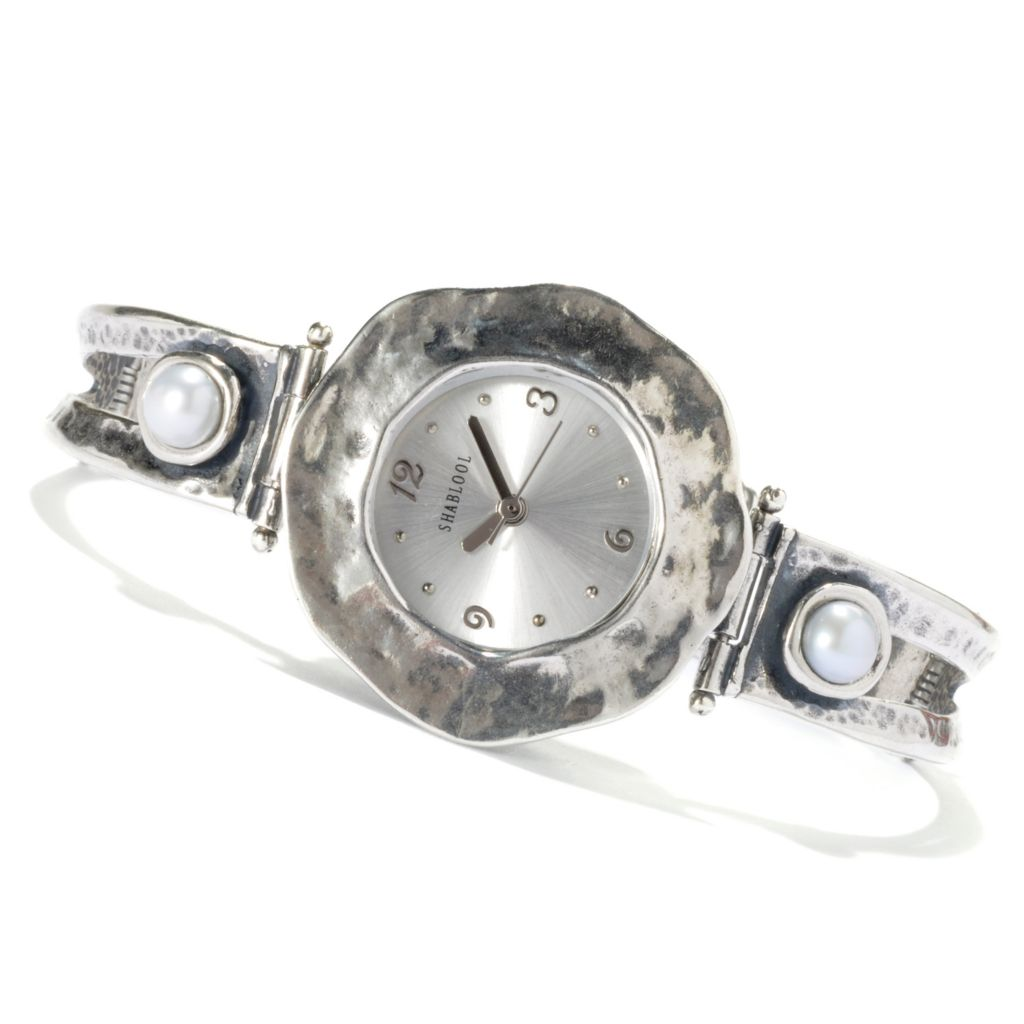 "131-893 - Passage to Israel Sterling Silver 7"" Freshwater Cultured Pearl Bracelet Watch"