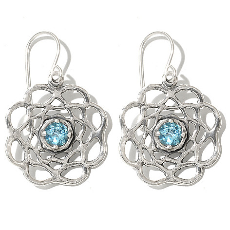 131-894 - Passage to Israel Sterling Silver 1.25'' Light Blue Topaz Flower Drop Earrings