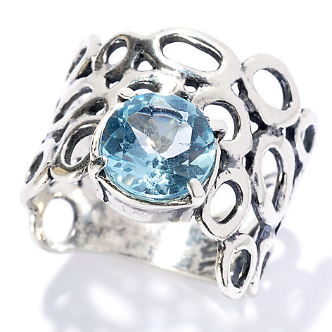 131-895 - Passage to Israel Sterling Silver 1.05ctw Light Blue Topaz Wide Band Ring