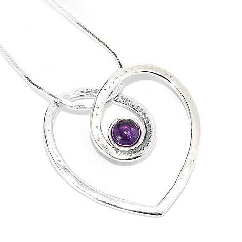 131-898 - Passage to Israel Sterling Silver 5mm Amethyst Open Heart Pendant w/ 18'' Chain