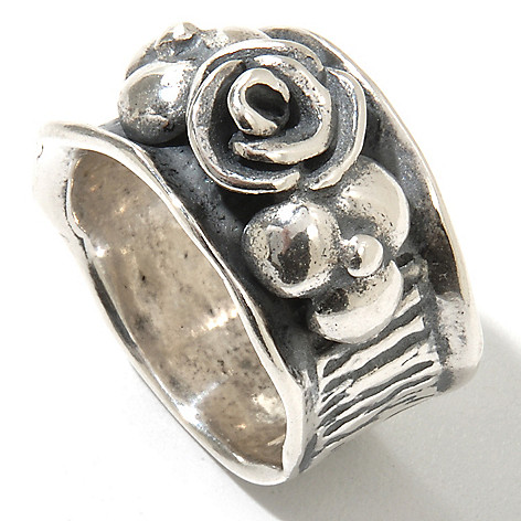 131-900 - Passage to Israel Sterling Silver Hammered & Textured Flower Ring