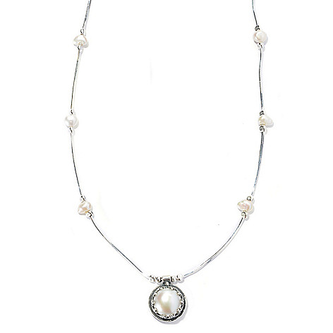 131-902 - Passage to Israel Sterling Silver 18'' Freshwater Cultured Pearl Station Necklace