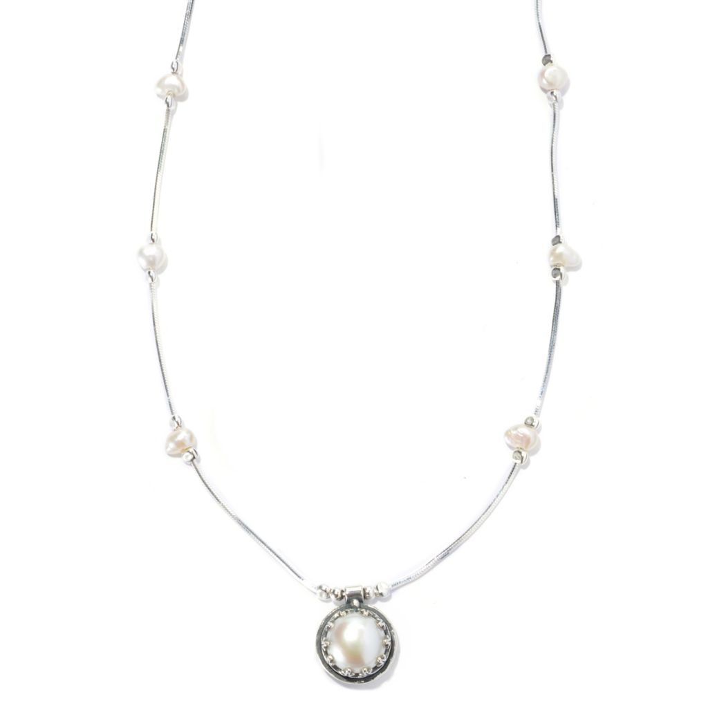 "131-902 - Passage to Israel Sterling Silver 18"" Freshwater Cultured Pearl Station Necklace"