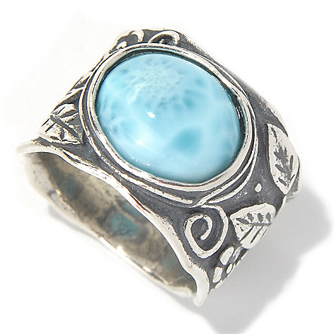 131-903 - Passage to Israel Sterling Silver 12 x 10mm Larimar Leaf Design Ring