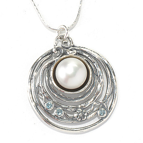 131-904 - Passage to Israel Sterling Silver 18'' Freshwater Cultured Pearl & Topaz Necklace