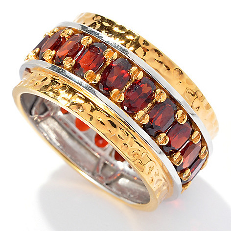 131-908 - Men's en Vogue II 4.83ctw Garnet Martellato Eternity Band Ring