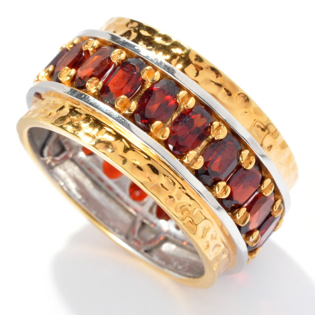 131-908 - Men's en Vogue 4.83ctw Garnet Martellato Eternity Band Ring
