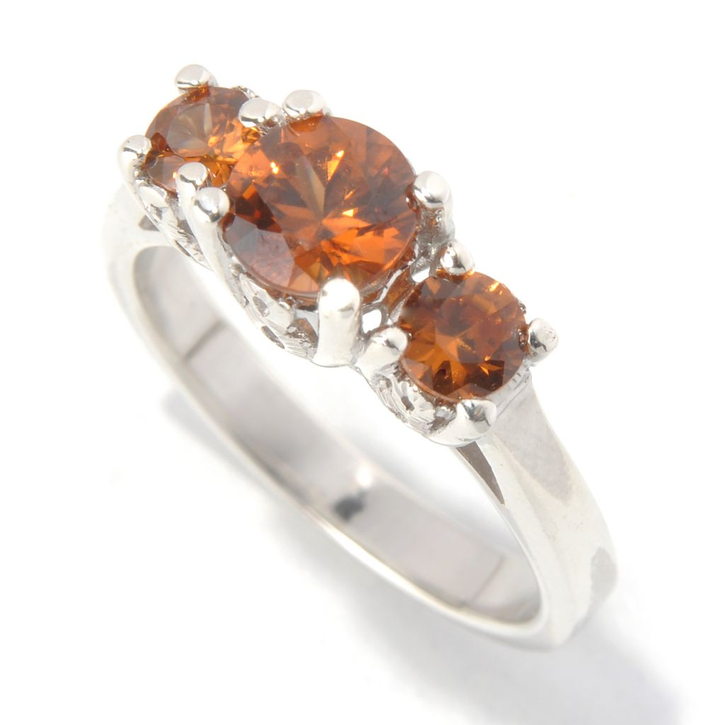131-916 - Gem Treasures Sterling Silver 1.70ctw Exotic Zircon Three-Stone Ring