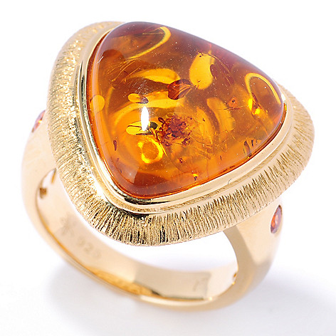 131-919 - Michelle Albala 16 x 15mm Amber Trillion & Orange Sapphire Brushed Ring
