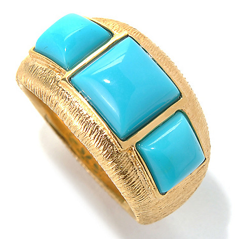 131-920 - Michelle Albala Sleeping Beauty Turquoise Brushed Three-Stone Ring