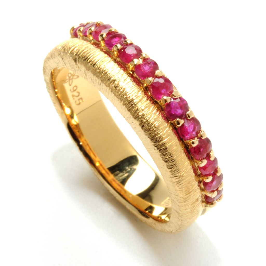 131-921 - Michelle Albala Gemstone Brushed Duo Band Ring