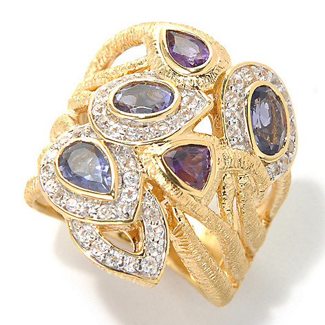 131-923 - Michelle Albala 1.60ctw Iolite, Amethyst & White Zircon Wide Band Ring