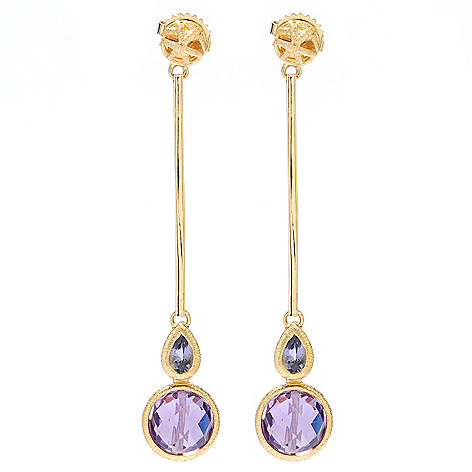 131-924 - Michelle Albala 2.25'' 4.58ctw Amethyst & Iolite Elongated Drop Earrings