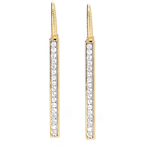 131-927 - Michelle Albala 1.75'' White Zircon Brushed Elongated Line Drop Earrings