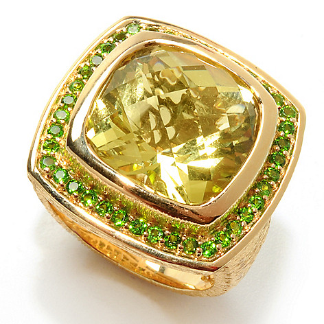 131-929 - Michelle Albala 9.74ctw Ouro Verde & Chrome Diopside Square Halo Ring