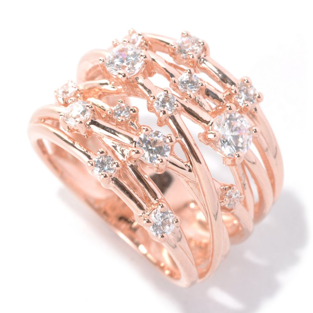 131-934 - Brilliante® Round Cut Simulated Diamond Crisscross Open Shank Band Ring