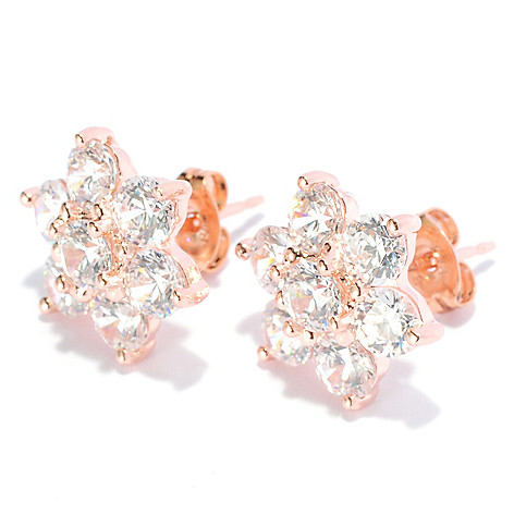 131-941 - Brilliante® 3.50 DEW Round Cut Simulated Diamond Six-Petal Cluster Stud Earrings