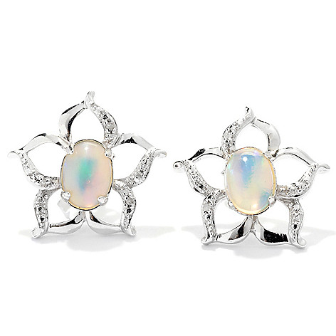 131-946 - Gem Insider Sterling Silver 7 x 5mm Ethiopian Opal & Diamond Flower Earrings