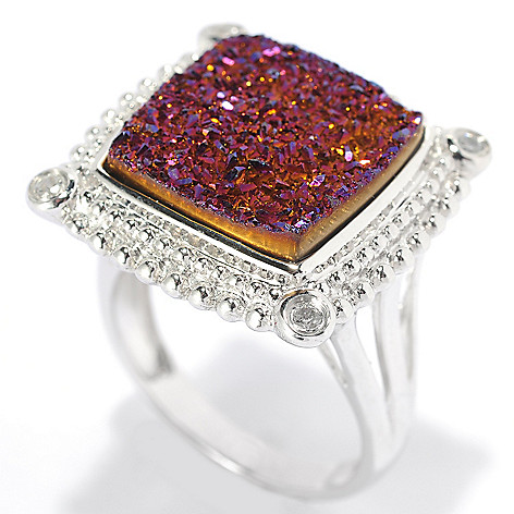 131-948 - Gem Insider™ Sterling Silver 14mm Drusy & White Zircon Framed Ring