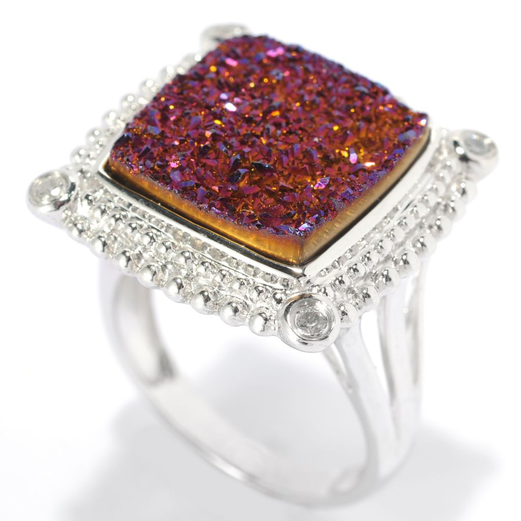 131-948 - Gem Insider Sterling Silver 14mm Drusy & White Zircon Framed Ring