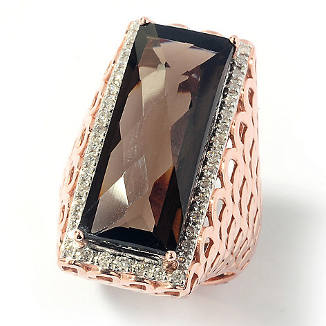 131-954 - Beverly Hills Elegance 12.50ctw Smoky Quartz & Diamond North-South Ring