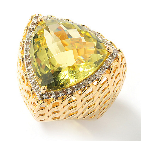 131-955 - Beverly Hills Elegance 18mm Colored Quartz & Champagne Diamond Triangle Ring