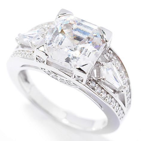 131-968 - Brilliante® Platinum Embraced™ 3.94 DEW Asscher Simulated Diamond Split Shank Ring