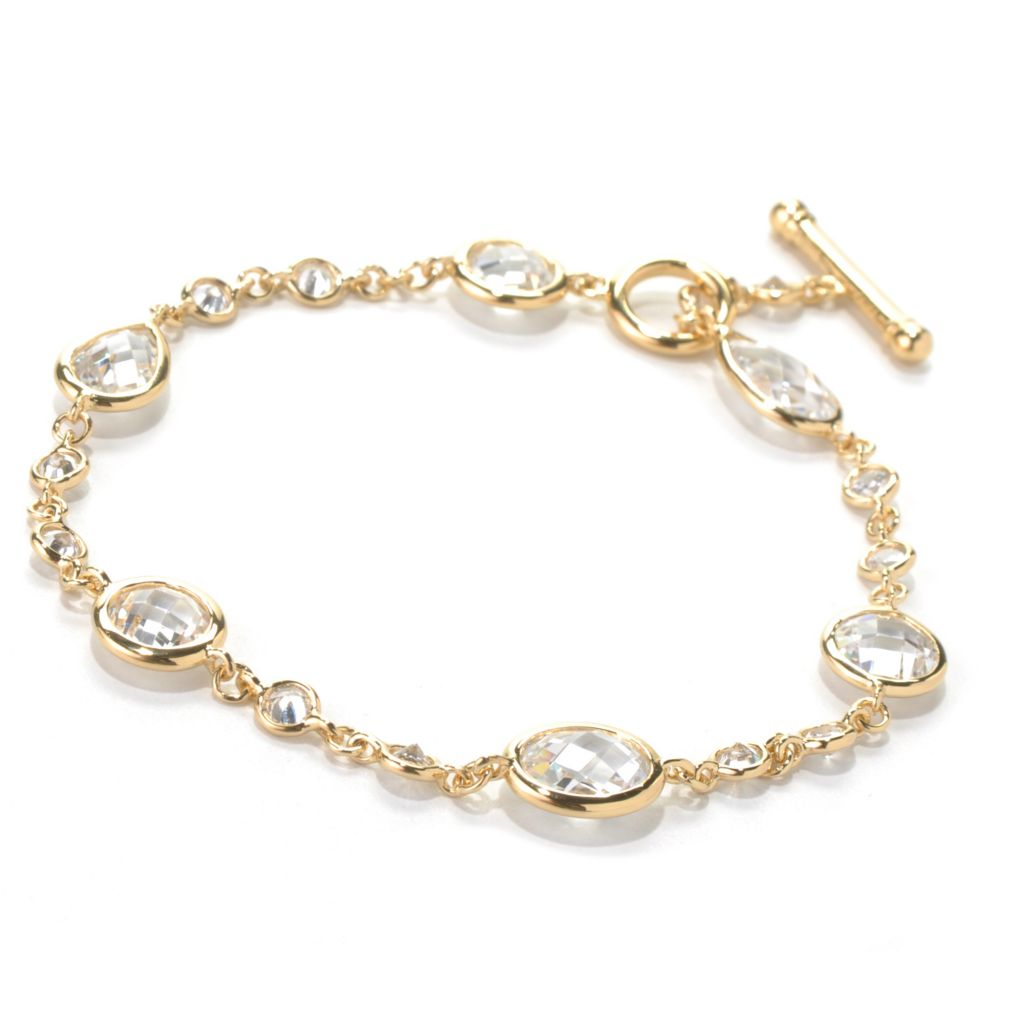 131-969 - Brilliante® Round & Teardrop Bezel Set Simulated Diamond Toggle Bracelet