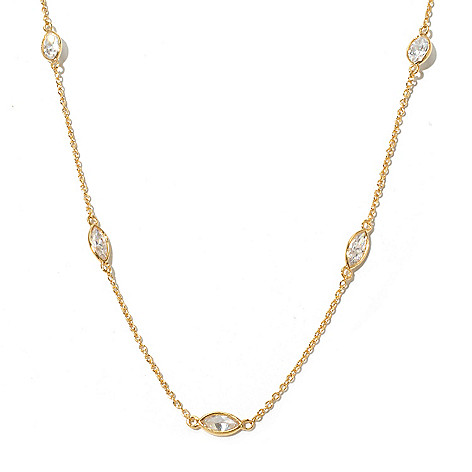 131-970 - Brilliante® 18'' 2.97 DEW Simulated Diamond Marquise Station Necklace