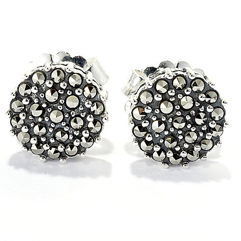 131-976 - Dallas Prince Sterling Silver Pave Stud Earrings Made w/ Swarovski® Marcasite