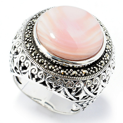 131-980 - Dallas Prince 15mm Mother-of-Pearl Cut-out Ring Made w/ Swarovski® Marcasite