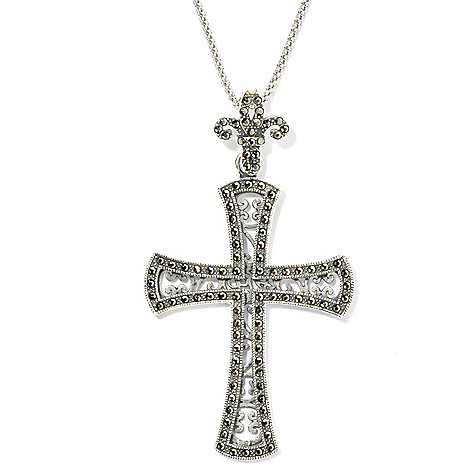 131-982 - Dallas Prince Sterling Silver Cross Pendant Made w/ Swarovski® Marcasite