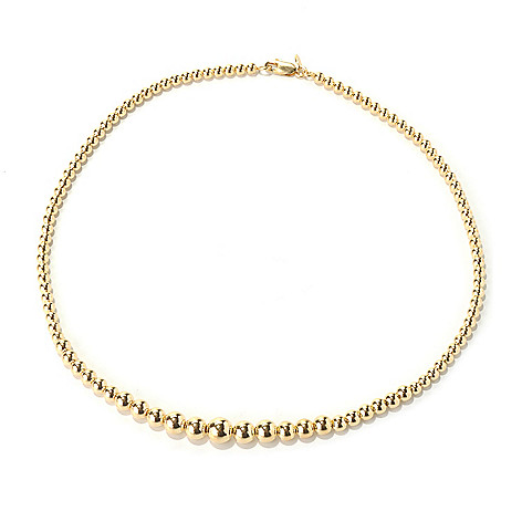 131-983 - Portofino Gold Embraced™ 17'' High Polished Graduated Bead Necklace