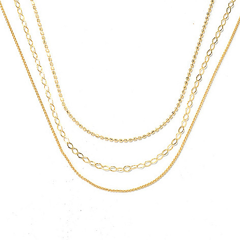 131-985 - Portofino 18K Gold Embraced™ Set of Three Polished Chain Necklaces