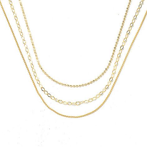 131-985 - Portofino 18K Gold Embraced™ Set of Three Polished Chain Necklaces