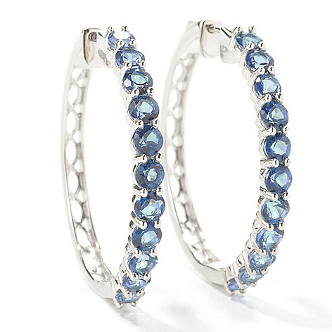 131-990 - Gem Treasures Sterling Silver 1.5'' 5.72ctw Topaz ''Kellie Anne'' Hoop Earrings