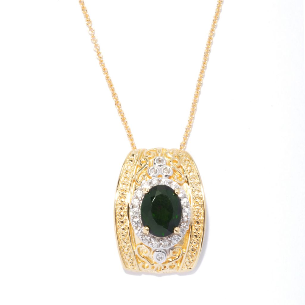 131-995 - NYC II 2.27ctw Chrome Diopside & White Zircon Pendant w/ Chain