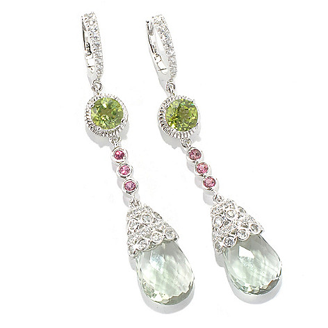 131-999 - NYC II 12.62ctw 2'' Briolette Cut Prasiolite & Multi Gemstone Dangle Earrings
