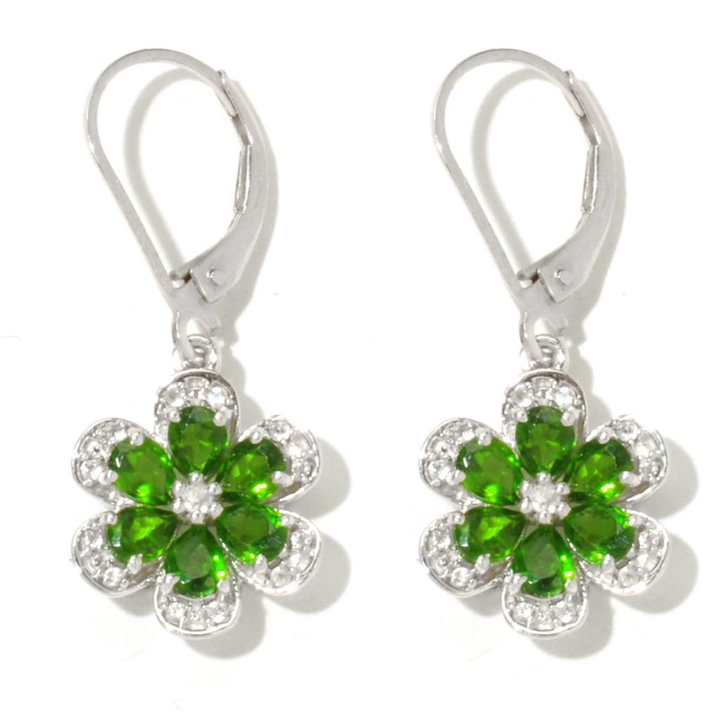 "132-000 - NYC II 1.25"" 1.94ctw Chrome Diopside & White Zircon Flower Drop Earrings"