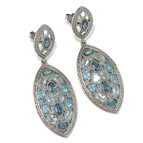 132-008 - NYC II 2'' 6.55ctw Multi Blue & White Topaz Marquise Shaped Drop Earrings