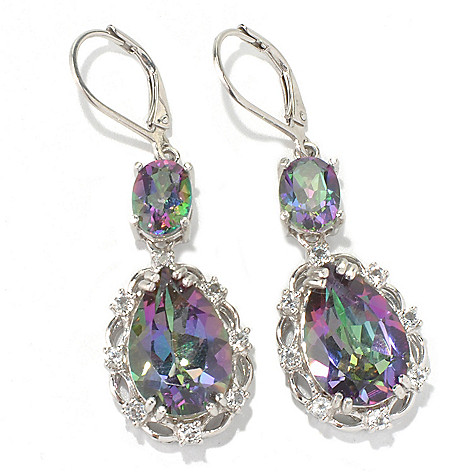 132-009 - NYC II 1.75'' 10.32ctw Mystic Quartz & White Topaz Pear Drop Earrings