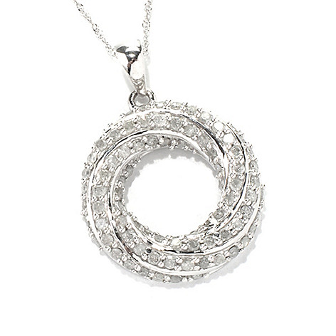 132-011 - Diamond Treasures Sterling Silver 0.94ctw Diamond Spiral Pendant w/ 18'' Chain