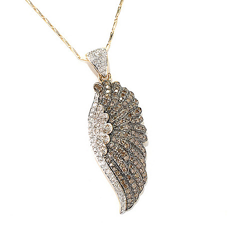 132-021 - Beverly Hills Elegance 14K Gold 1.24ctw Diamond Wing Pendant w/ Chain