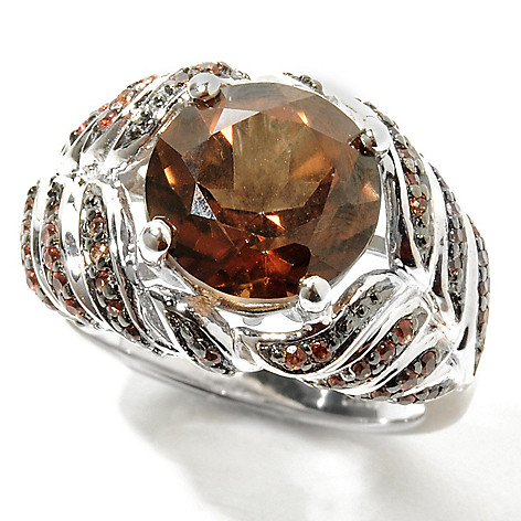 132-033 - Gem Treasures Sterling Silver 4.20ctw Chocolate Topaz & Sapphire ''Kellie Anne'' Ring